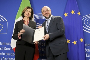 BOLDRINI, Laura - President of the Chamber of Deputies of Italy ; SCHULZ, Martin (S&D, DE)